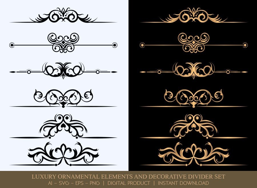 Luxury Decorative Divider Set SVG Cut Files | DDS029