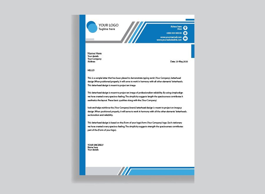 Business Letterhead Template, Corporate Letterhead Flat Style