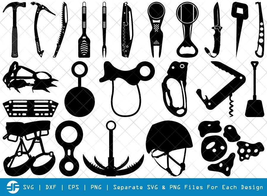 Climber Tools SVG Cut Files | Mountaineers Tool Silhouette