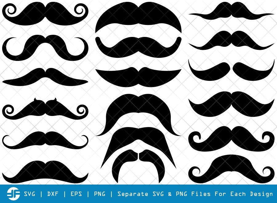 Mustache SVG Cut Files | Mustache Hipster Silhouette Bundle