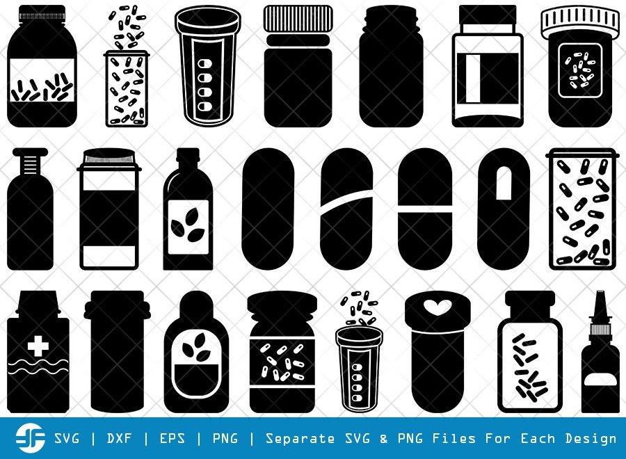Pill Bottle SVG Cut Files | Medicine Bottle Silhouette Bundle