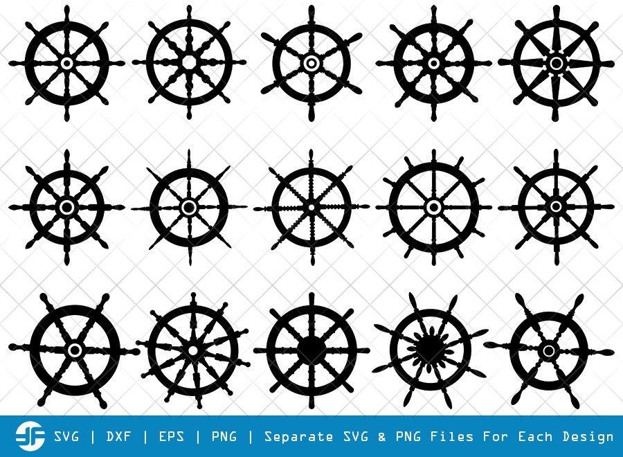 Ship Wheel SVG Cut Files | Ship Wheel Helm Silhouette
