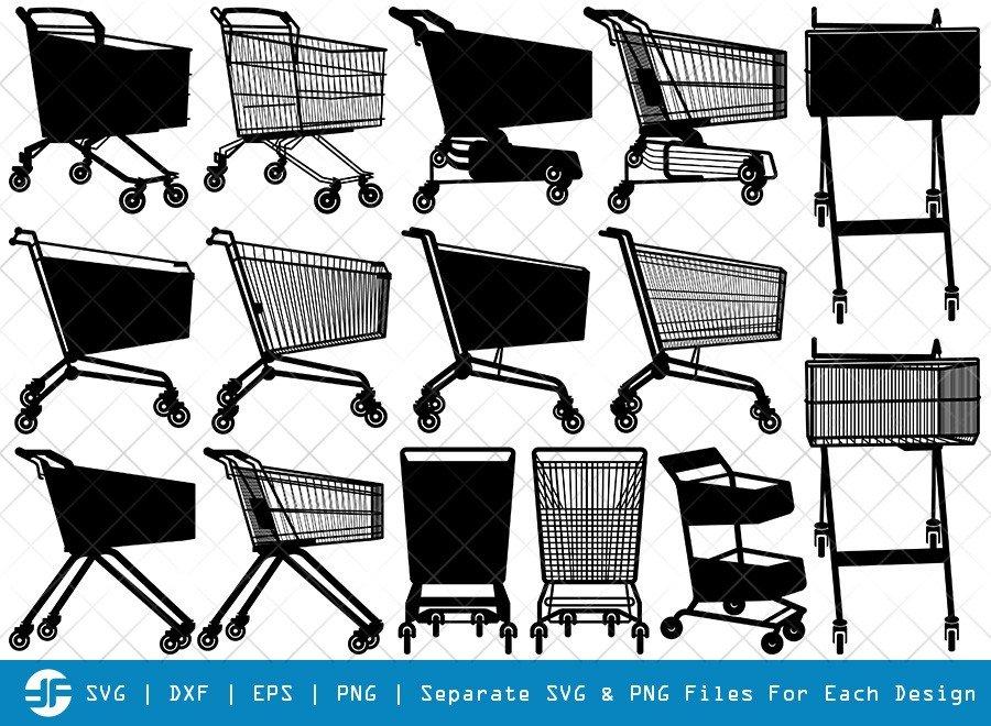 Shopping Cart SVG Cut Files | Shopping Cart Silhouette