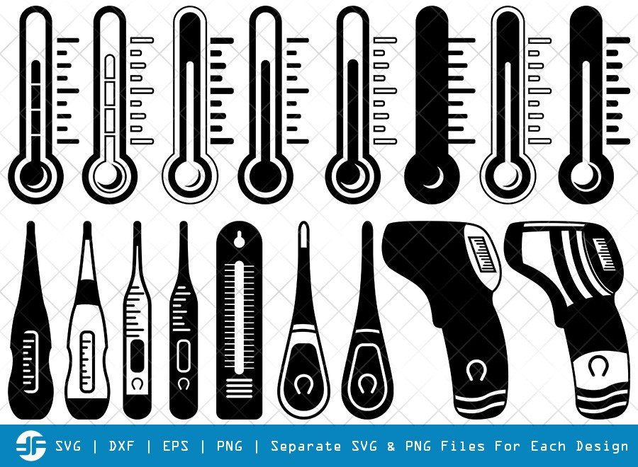 Thermometer SVG Cut Files | Temperature Silhouette Bundle