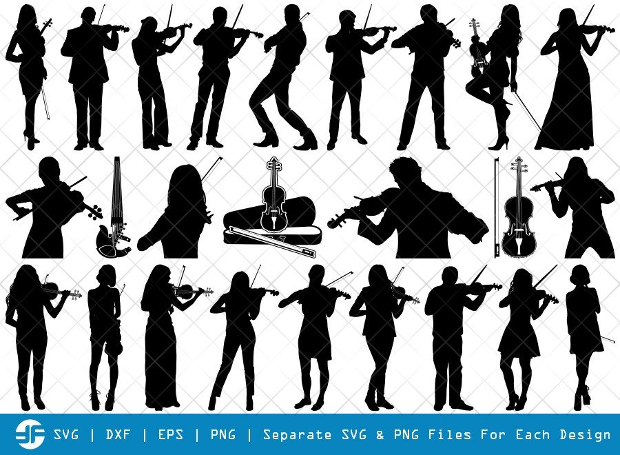Violin SVG Cut Files | Man Playing Violin Silhouette Bundle