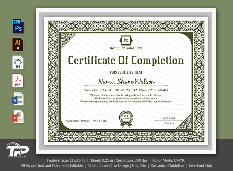Certificate of Completion Template | COC002