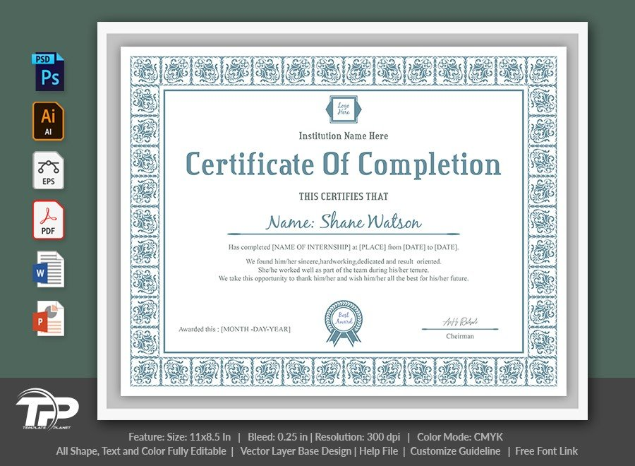 Certificate of Completion Template | COC007