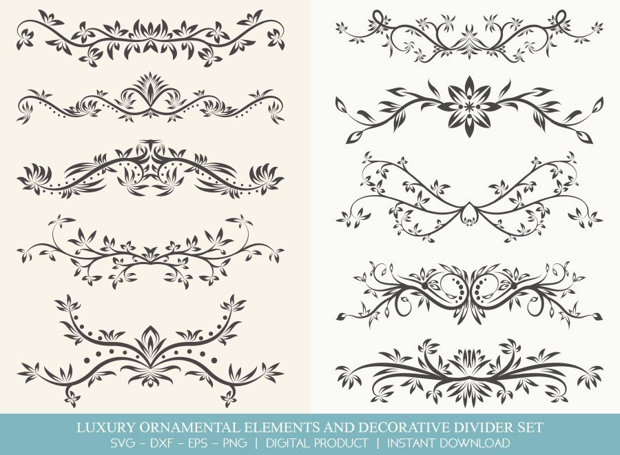 Luxury Ornament Divider Set SVG Cut Files | DDS005