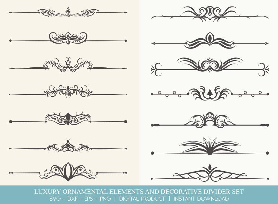 Luxury Ornament Divider Set SVG Cut Files | DDS0018