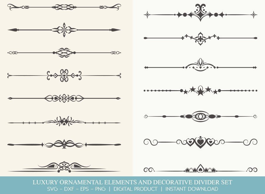 Luxury Ornament Divider Set SVG Cut Files | DDS0022