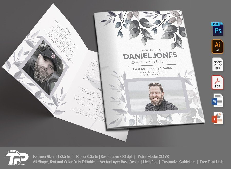 Funeral Program Template, Memorial Order of Service FPT023