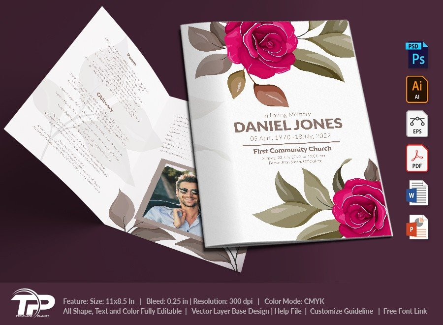 Funeral Program Template, Memorial Order of Service FPT026