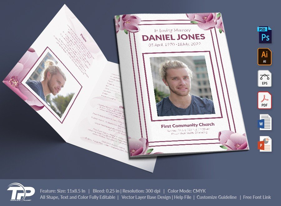 Funeral Program Template, Memorial Order of Service FPT029