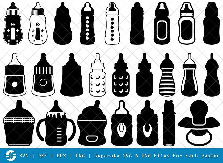 Baby Bottle SVG Cut Files | Baby nipples Silhouette Bundle