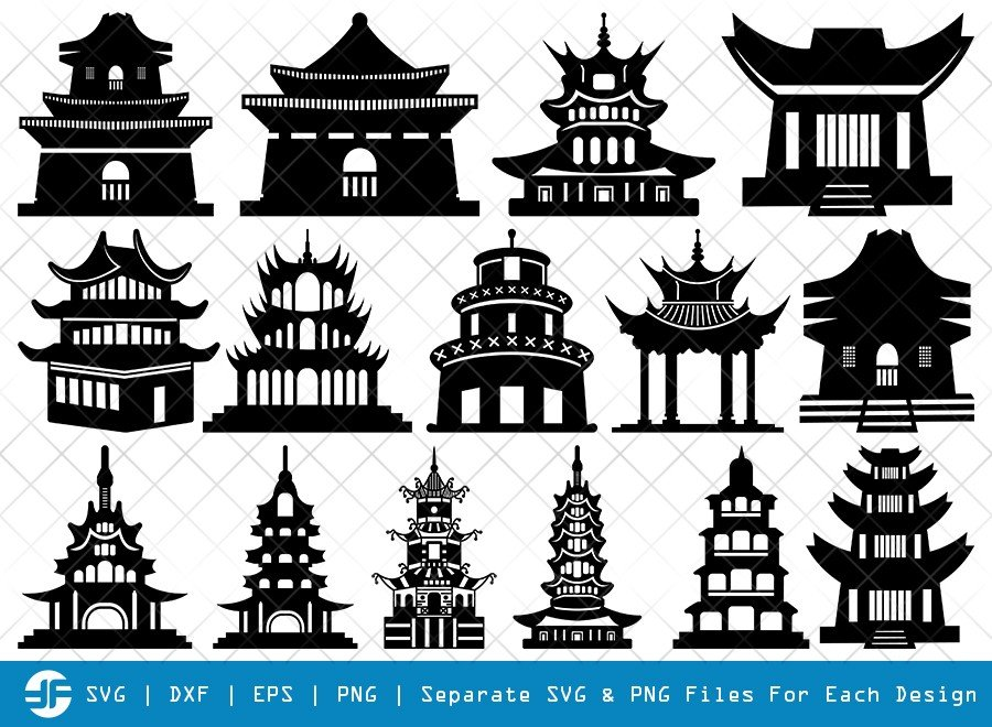 Building Of Chinese SVG Cut Files | Chines Silhouette Bundle