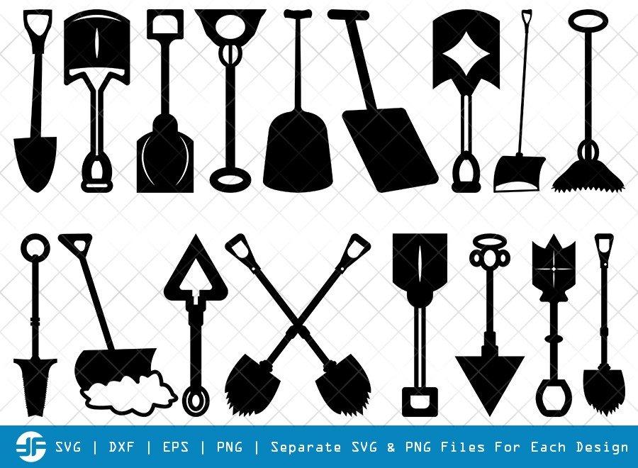 Shovel SVG Cut Files | Miner Pick Silhouette Bundle