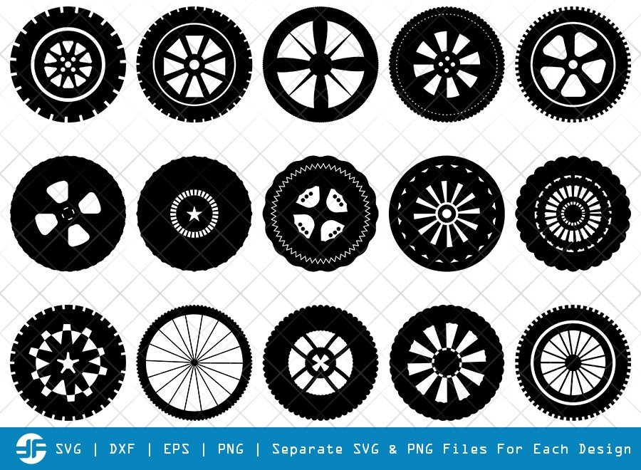 Tyre SVG Cut Files | Tire SVG | Tyre Wheel Silhouette Bundle