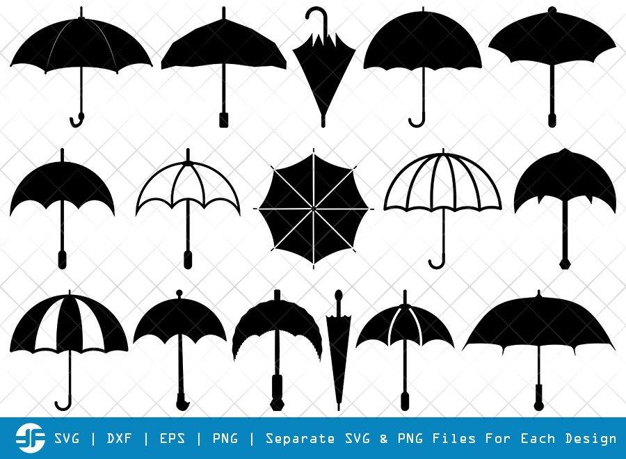 Umbrella SVG Cut Files   Rain   Umbrellas Silhouette Bundle