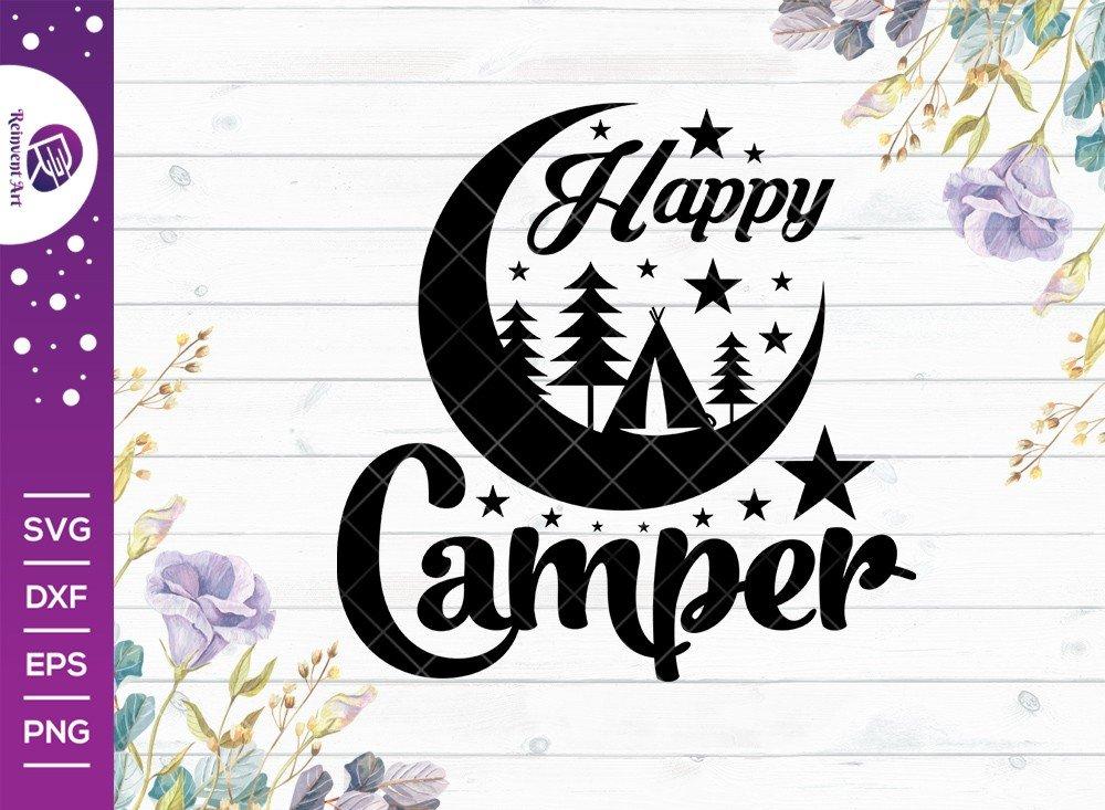 Happy Camper SVG Cut File | Camping Day T-shirt Design