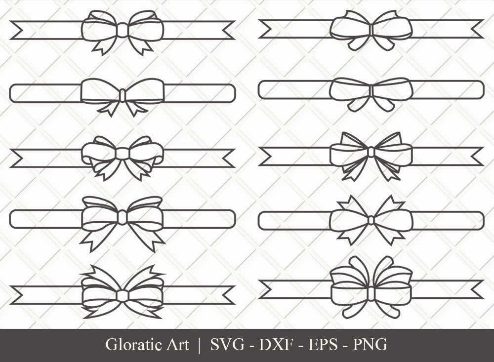 Bow and Ribbon Outline SVG Cut Files | Bow Ribbon Svg