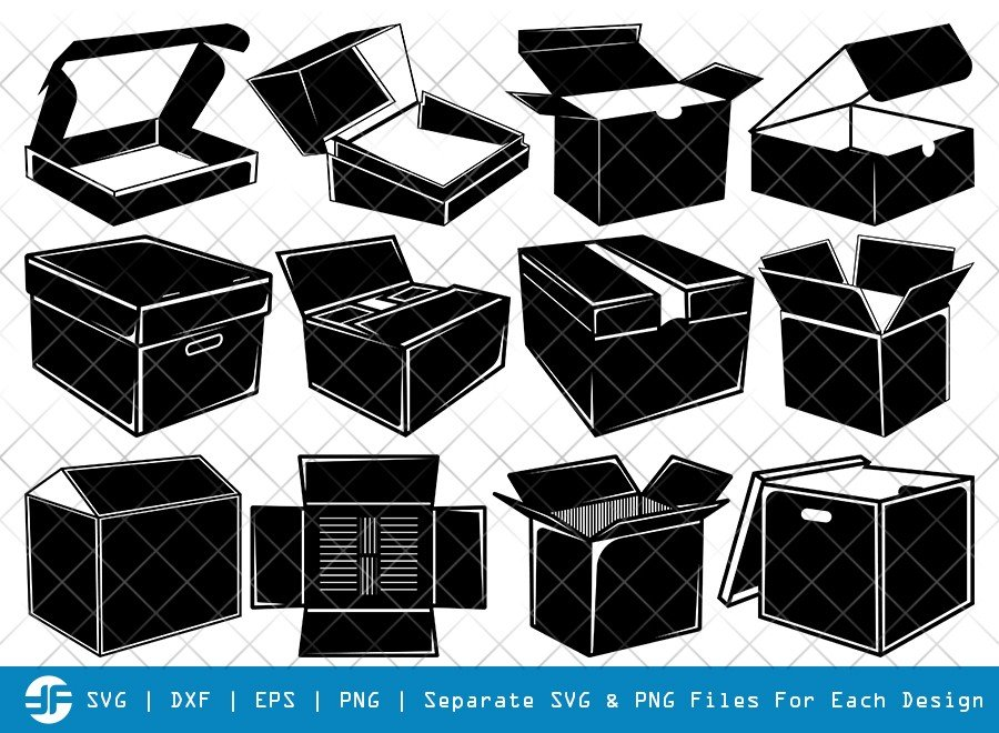 Cardboard Box SVG Cut Files | Box SVG | Silhouette Bundle