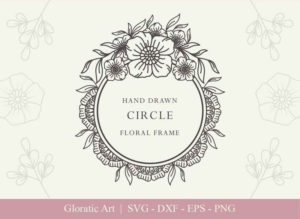 Circle Floral Frame SVG Cut Files | CFF004