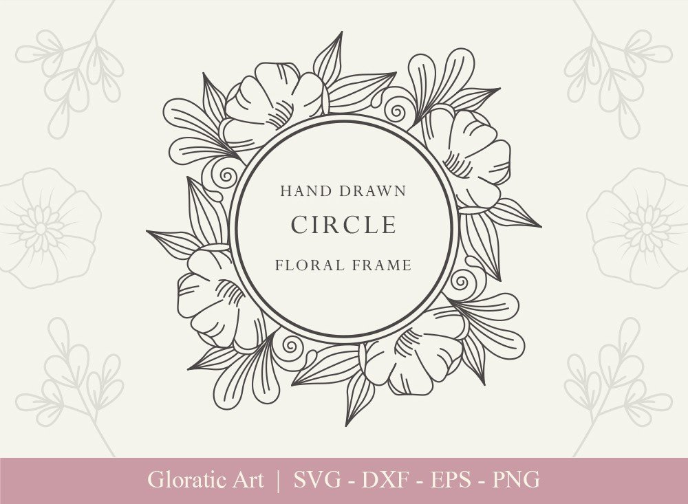 Circle Floral Frame SVG Cut Files | CFF006