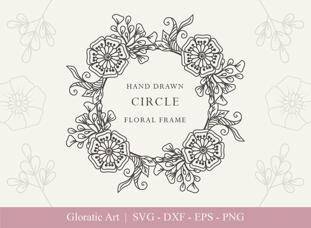 Circle Floral Frame SVG Cut Files | CFF009