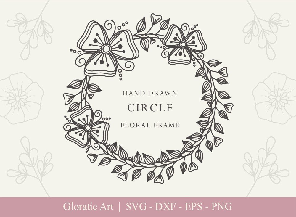 Circle Floral Frame SVG Cut Files | CFF0011