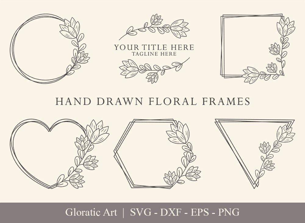 Floral Frame SVG Cut Files | Flower Wreath Bundle | FF001