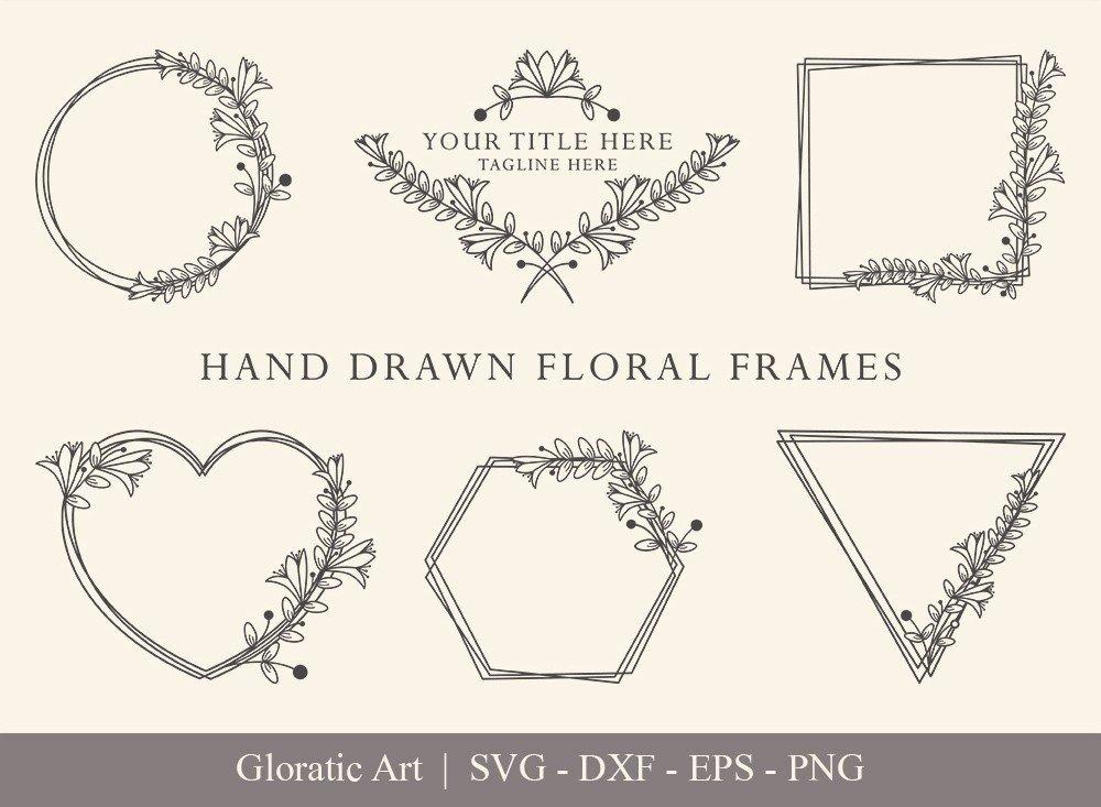 Floral Frame SVG Cut Files | Flower Wreath Bundle | FF006
