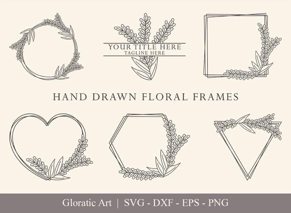 Floral Frame SVG Cut Files | Flower Wreath Bundle | FF0010