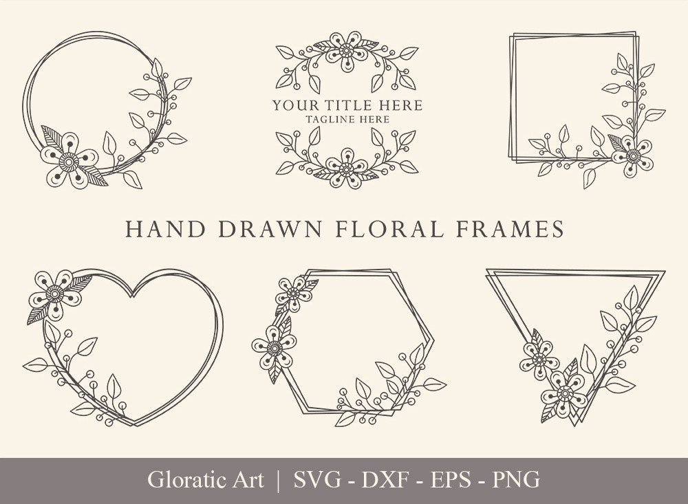 Floral Frame SVG Cut Files | Flower Wreath Bundle | FF0014