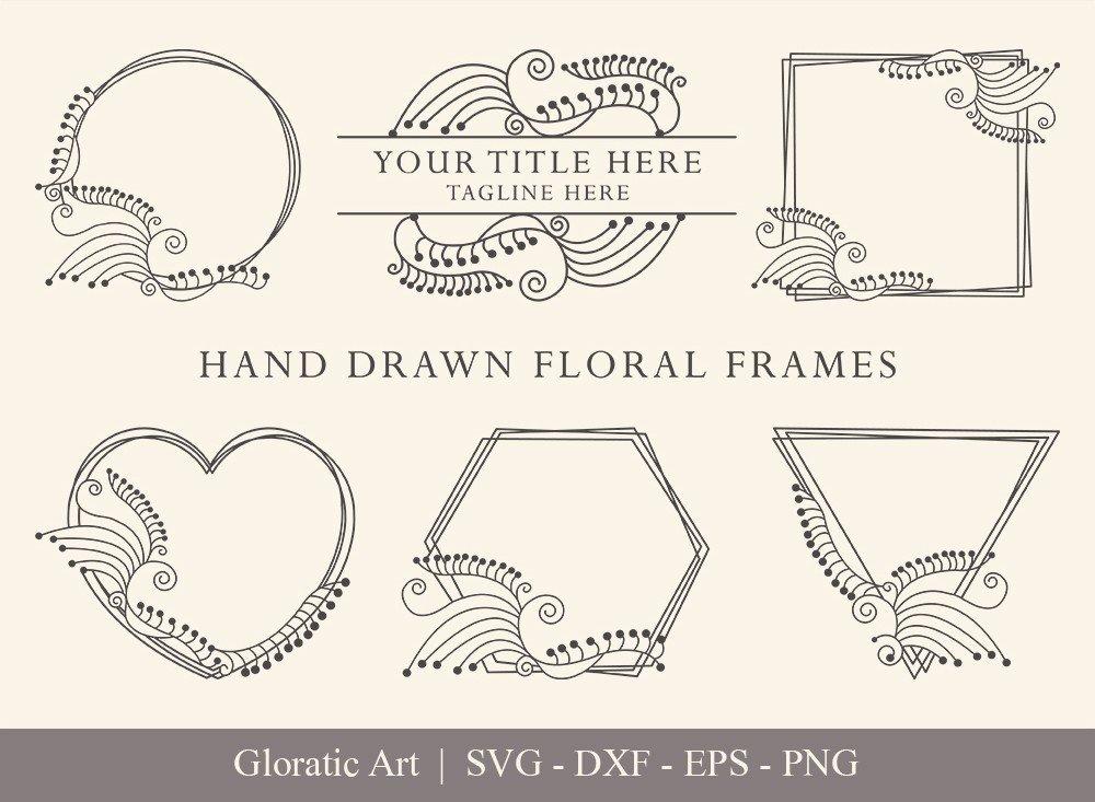 Floral Frame SVG Cut Files | Flower Wreath Bundle | FF0021