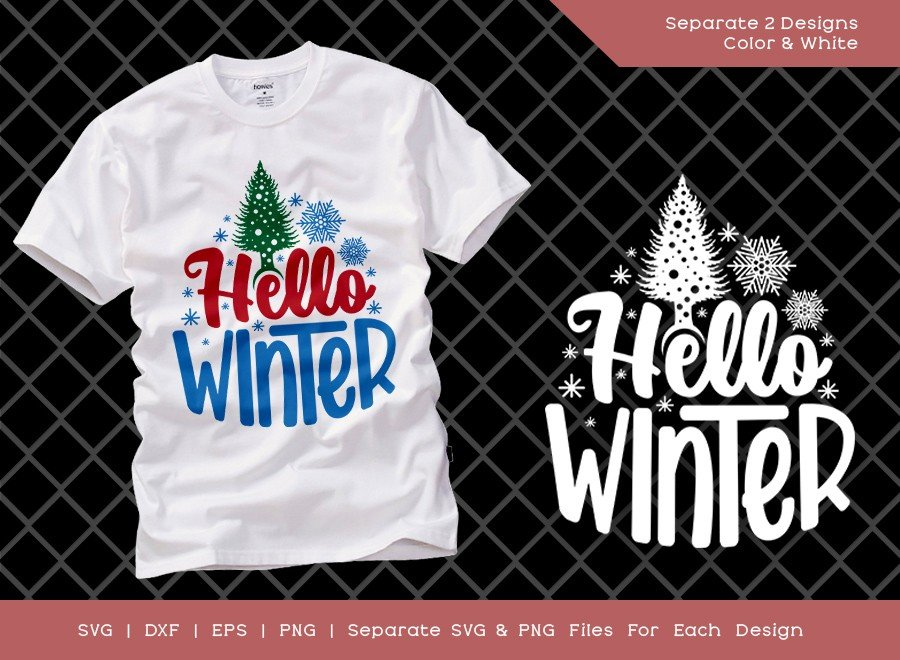 Hello Winter SVG Cut File | Christmas Svg | T-shirt Design