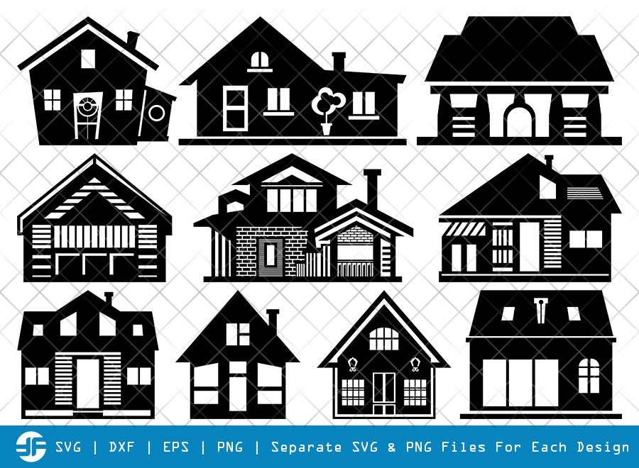 Home SVG Cut Files | Building SVG | House Silhouette Bundle