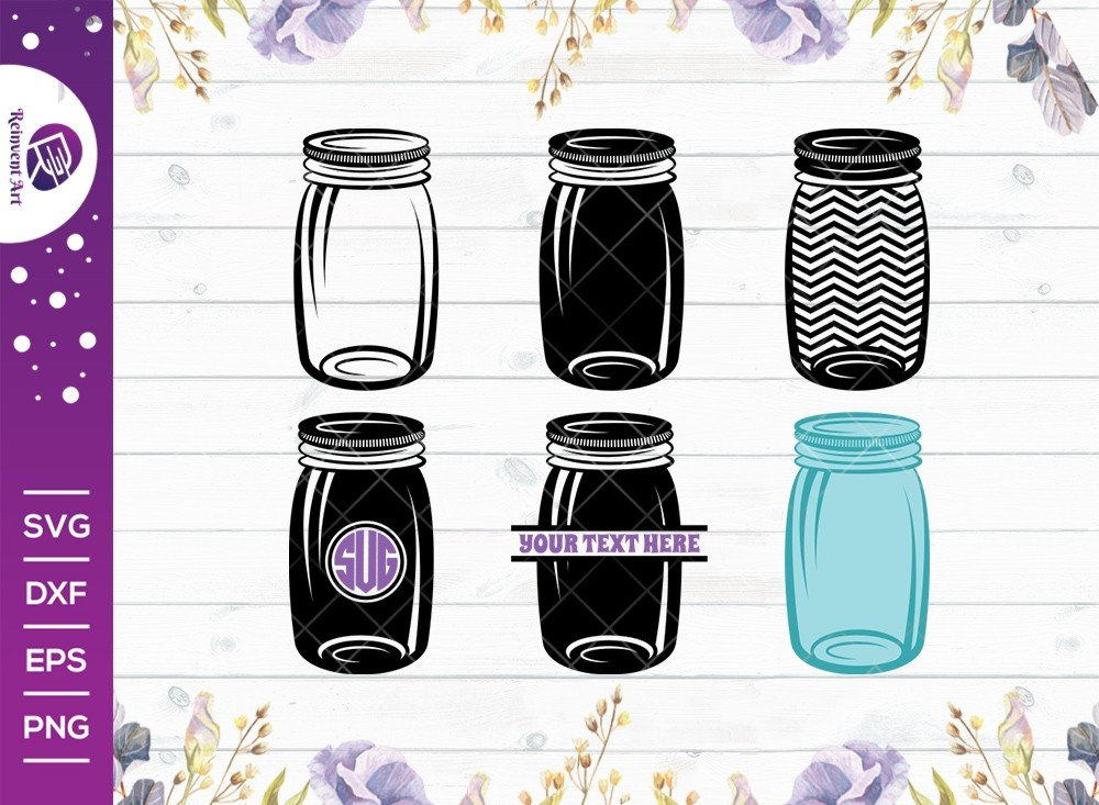 Mason Jar SVG Cut File | Split Monogram | Jar SVG | Outline
