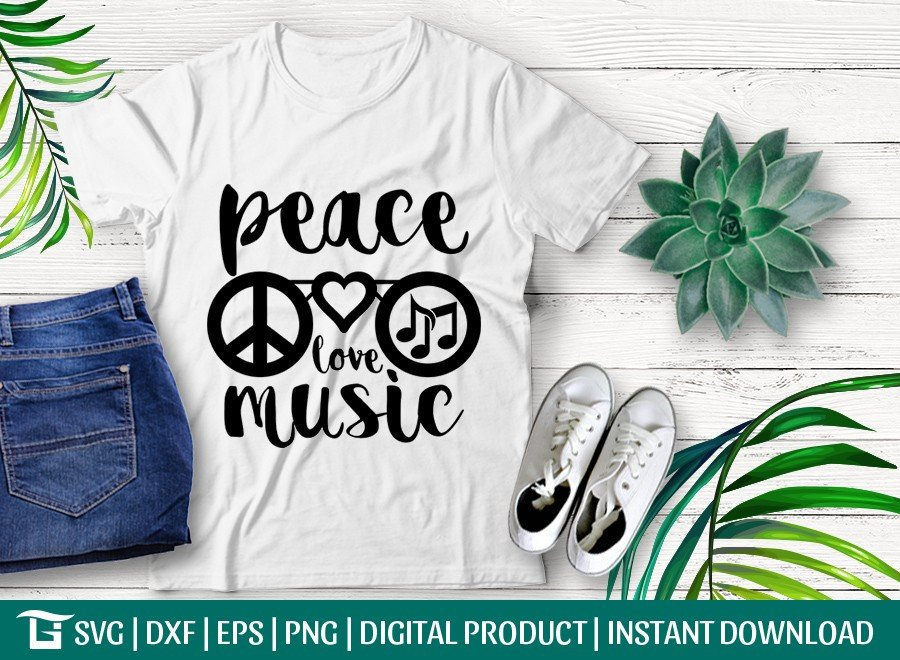 Peace Love Music SVG Cut File | Peace Svg | T-shirt Design