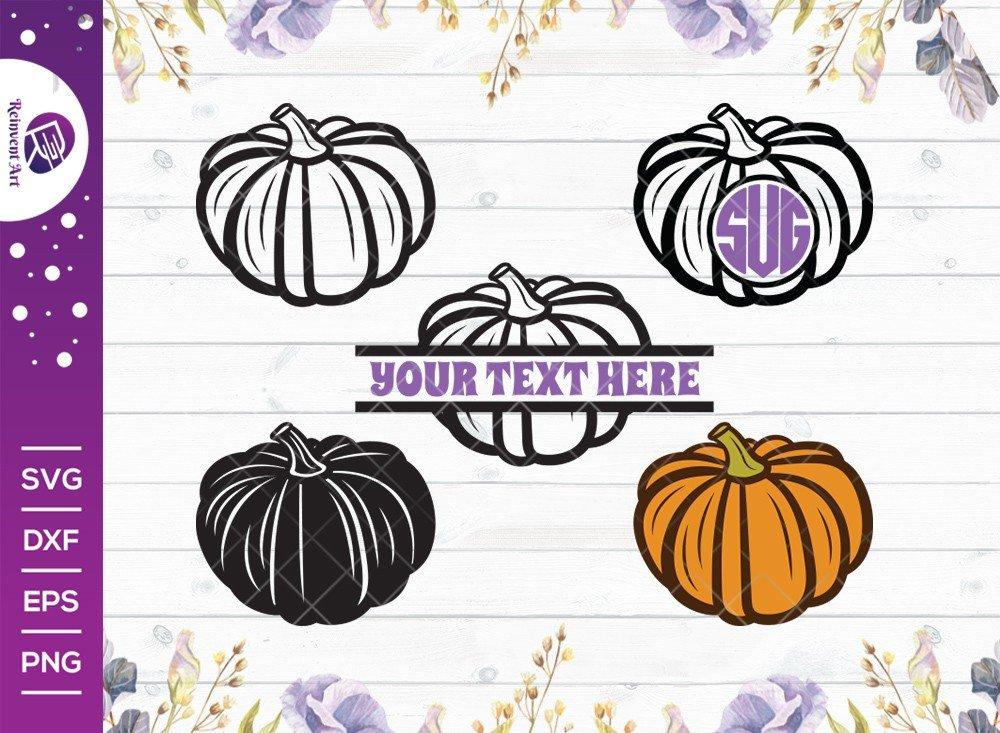 Pumpkin SVG Cut File | Fall SVG | Split Monogram SVG