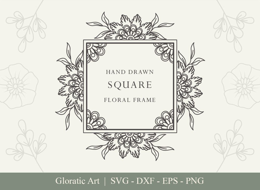 Square Floral Frame SVG Cut Files | SFF003