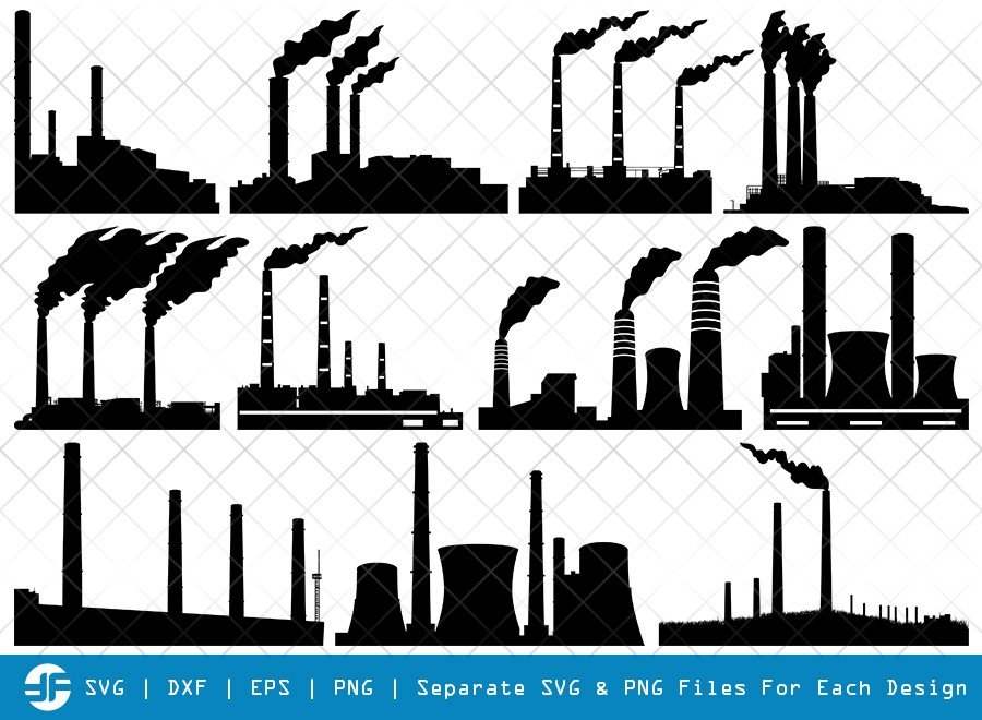 Coal Power Plant SVG Cut Files | Silhouette Bundle