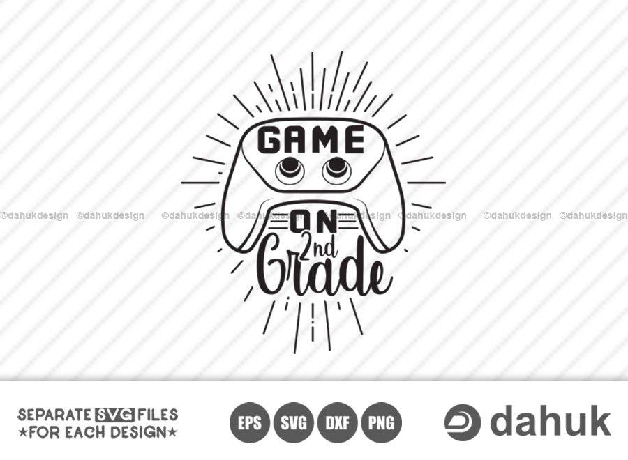 Game On 2nd Grade svg, Back to school, Kids gamer shirt