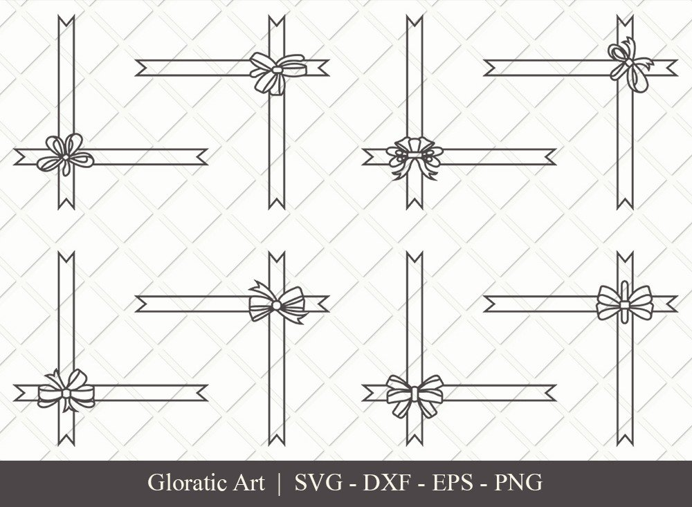 Gift Box Ribbon Outline SVG Cut Files | Gift Box SVG