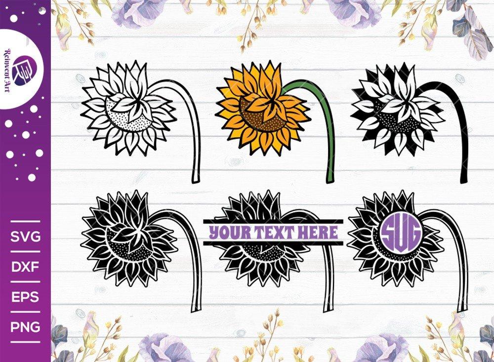 Sunflower SVG Cut Files | Sunflower SVG | Split Monogram