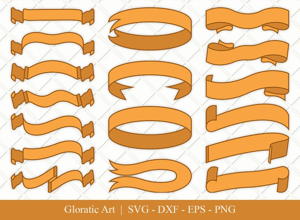 Text Ribbon Clipart SVG Cut Files | Text Banner Svg | TRC005