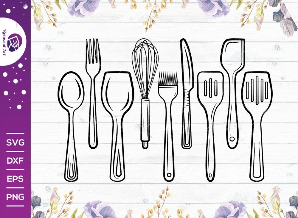 Kitchen Utensils Outline Svg Cut File | Kitchen Svg