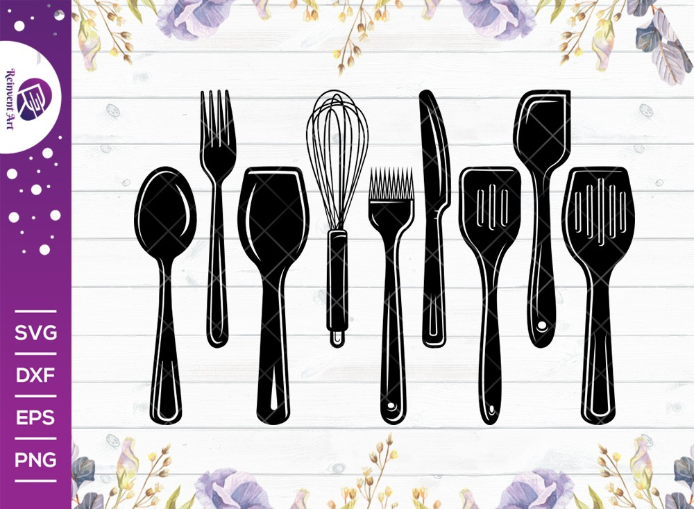 Kitchen Utensils Silhouette SVG Cut File | Kitchen SVG