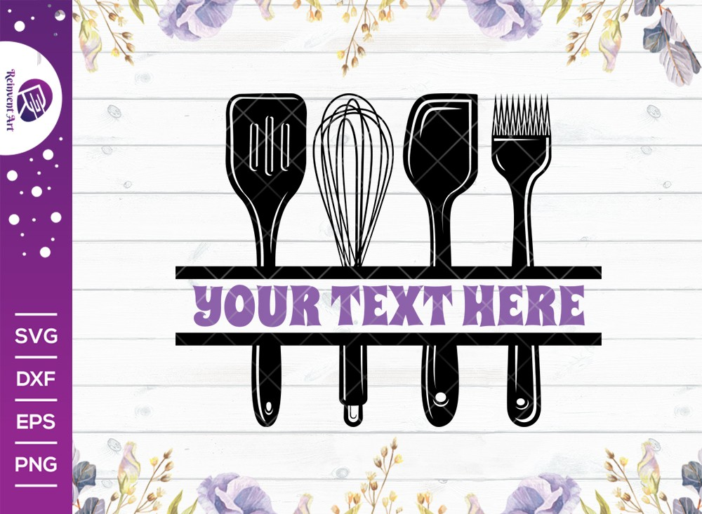 Kitchen Utensils SVG Cut File | Kitchen Split Monogram SVG
