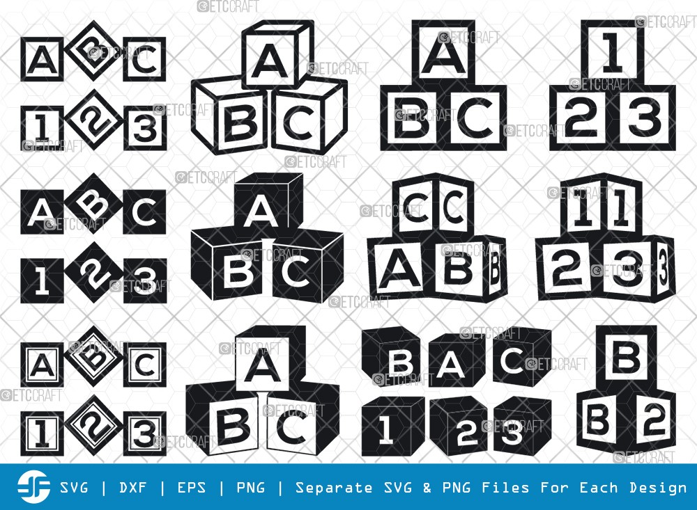 Alphabet Cubes SVG Cut Files | Cubes ABC Silhouette