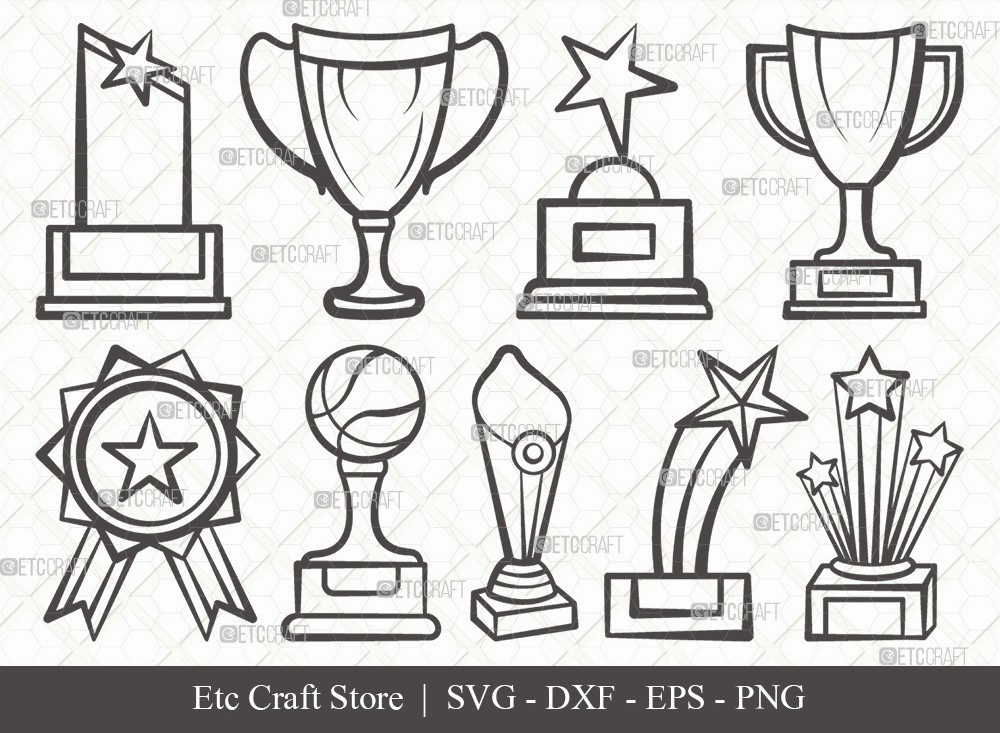 Award Trophy Outline SVG Cut File | Trophy Cup Svg
